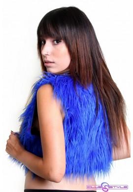 Royal Blue Fur Vest