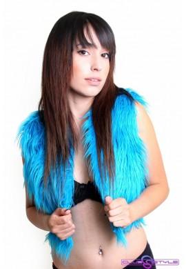Turquoise Fur Vest