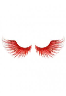 Feathered Red Eyelashes