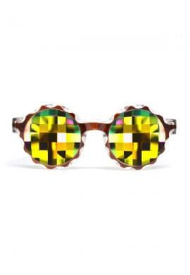 Amber Crown Rainbow Bug Kaleidoscope Glasses