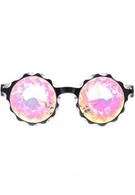 Black Crown Rainbow Kaleidoscope Glasses