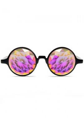 Black Fractal Kaleidoscope Glasses