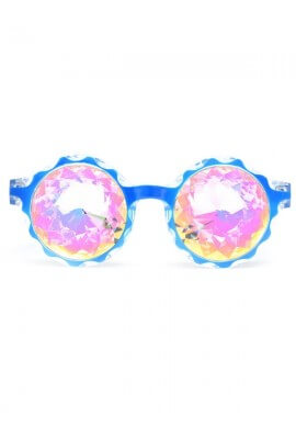 Blue Crown Rainbow Kaleidoscope Glasses