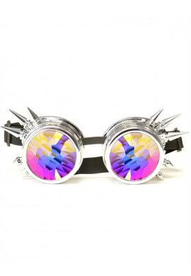 Chrome Spike Kaleidoscope Goggles