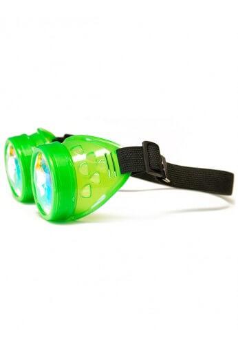 Glowing Green Kaleidoscope Goggles