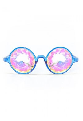 Blue with Rainbow Kaleidoscope Glasses