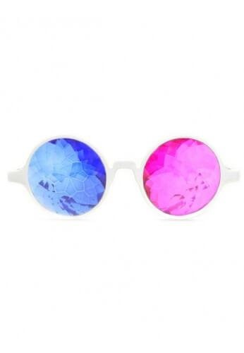 White 3D Kaleidoscope Glasses