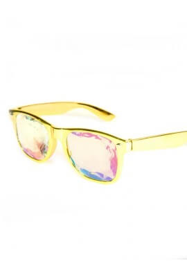 Gold Wayfarer Kaleidoscope Glasses