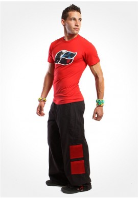 "23"" Mesh Pants in Black and Red"