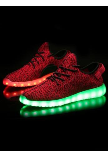 Red Lit Knit Light Up LED Shoes