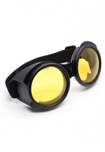 Flat Black Cyber Goggles with Yellow Lenses