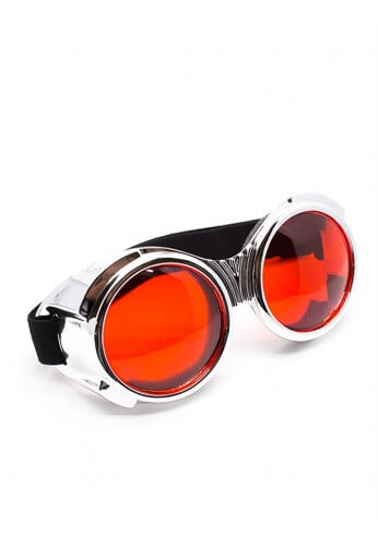 Chrome Bugeye Cyber Goggles with Red Lenses