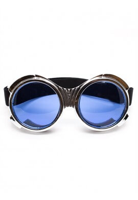 Chrome Bugeye Cyber Goggles with Blue Lenses