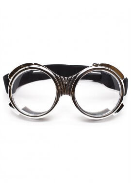 Chrome Bugeye Cyber Goggles with Clear Lenses