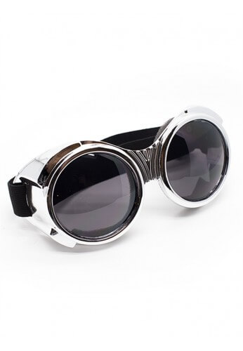 Chrome Bugeye Cyber Goggles with Smoke Lenses