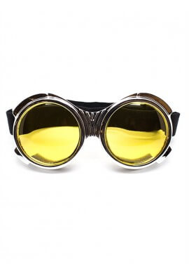 Chrome Bugeye Cyber Goggles with Yellow Lenses
