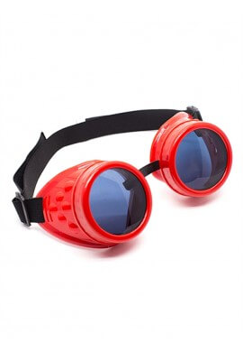 Red Cyber Goggles with Replaceable Lenses