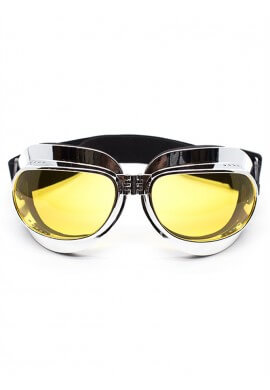 Foldable Chrome Goggles with Yellow Lenses