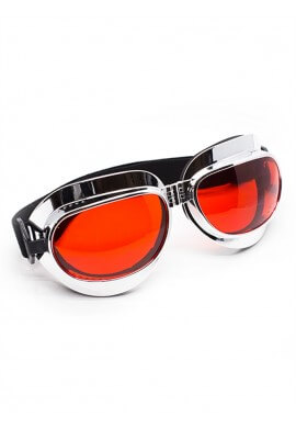 Foldable Chrome Goggles with Red Lenses