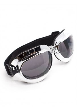 Foldable Chrome Goggles with Smoke Lenses