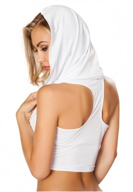 White Hooded Cowl Crop Top
