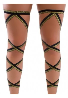 Black and Glitter Gold Leg Wraps