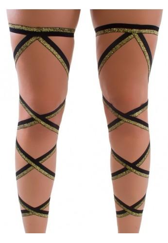 Black and Glitter Gold Leg Wraps