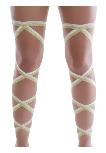 White and Gold Glitter Leg Wraps