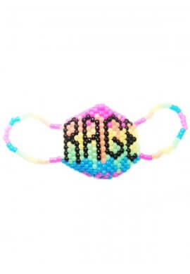 Glowing Rainbow Rage Kandi Mask