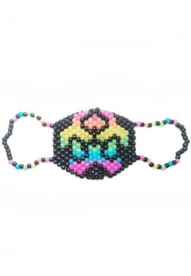 Glowing Rainbow Biohazard Kandi Mask