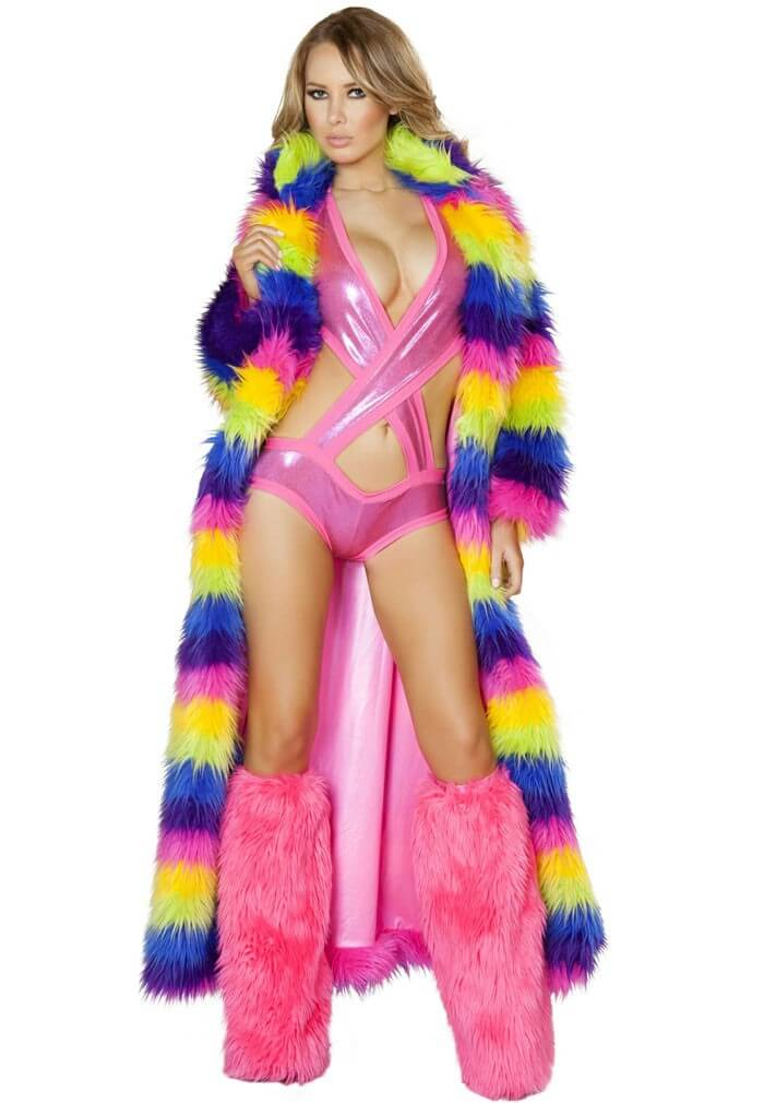 Rainbow Fur Jacket Furry Burning Man Jacket From Raveready