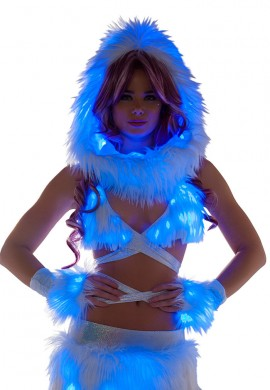 Blue Light-Up Fur Wrap Top
