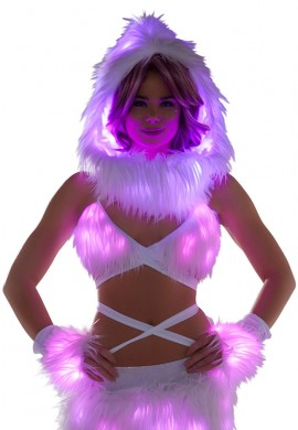 Pink Light-Up Fur Wrap Top