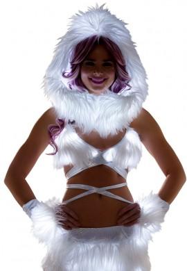 White Light-Up Fur Wrap Top