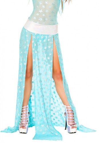 Aqua and Silver Star Gypsy Skirt