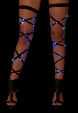 Black with Blue Light Up Leg Wraps