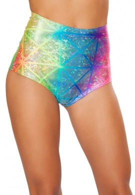 Diamond Hologram High Waist Shorts