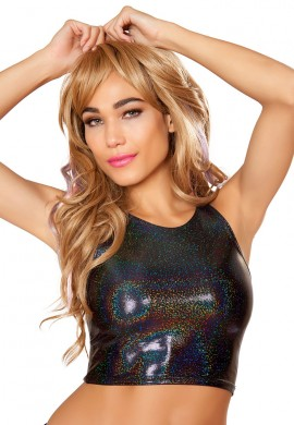 Metallic Black Twinkle High Cut Tank