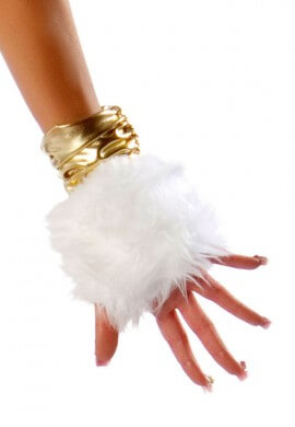 Furry White Gloves with Gold Detailing