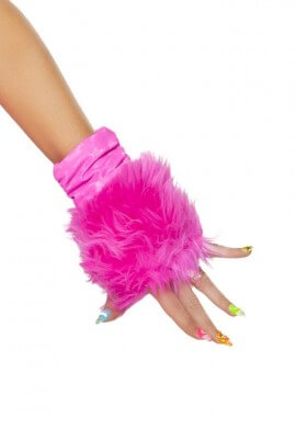 Hot Pink Furry Gloves