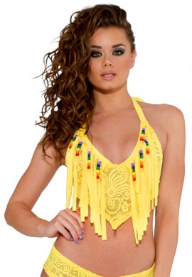 Yellow Beaded Fringe Top