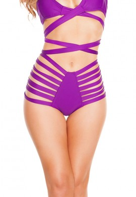 Purple High Waist Strappy Shorts