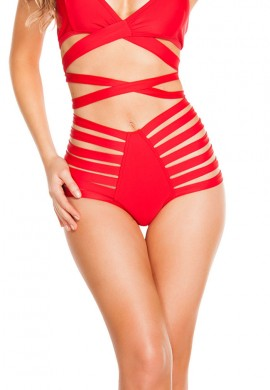 Red High Waist Strappy Shorts