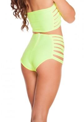 Yellow High Waist Strappy Shorts