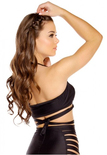Black Halter Wrap Top
