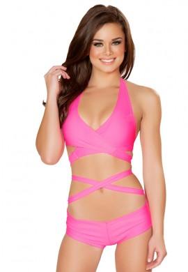 Neon Pink Tie Wrap Top