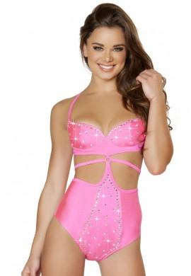 Pink Strap Rhinestone Monokini
