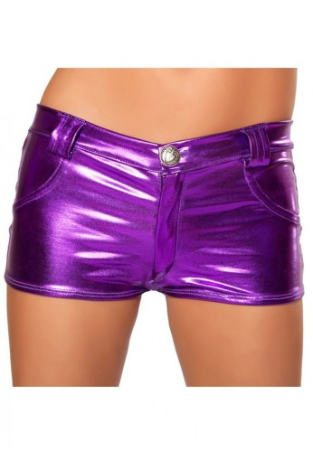 Purple Metallic Hot Pant Shorts