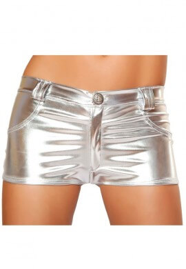 Silver Metallic Hot Pant Shorts