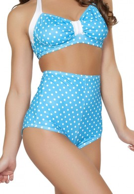Turquoise Polka Dot High Waisted Shorts